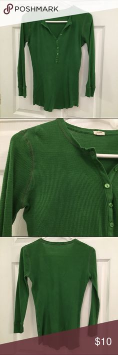 Dark Green Waffle Knit Shirt Soft, comfortable waffle knit shirt with button collar. This shirt makes a great layering piece! J. Crew Tops Tees - Long Sleeve