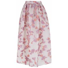 The 2nd Skin Co Pink And White Floral Midi Skirt ($1,432) ❤ liked on Polyvore featuring skirts, floral printed skirt, floral midi skirt, floral print skirt, floral knee length skirt and floral skirt