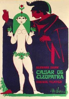 Poster by Bjørn Wiinblad (1918-2006),  1970s, Cæsar og Cleopatra. (Danish)