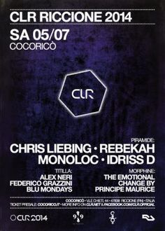Sabato si fa da matti al Cocoricò #Riccione con Chris Liebing, Rebekah, Monoloc e idriss D. Tu che fai,vieni?