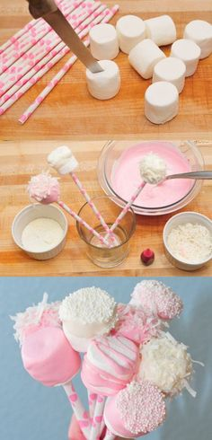 marshmallow cake pops: perfect in pink or white and quick and easy! #pinkribbon