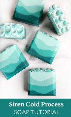 This Siren Cold Process Soap features a teal ombré design. It's topped with layers of soap that resembles a mermaid tail. Green Soap, Soap Tutorial, Homemade Soap Recipes, Cold Process Soap, Home Made Soap, Diy Candles, Handmade Soaps, Handmade Headbands, Soap Making
