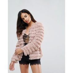 Club L Shaggy Layer Faux Fur Coat (86 CAD) ❤ liked on Polyvore featuring outerwear, coats, pink, imitation fur coats, layering cami, layering camisole, pink faux fur coat and club l