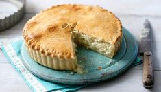 Cheese and onion pie. This stunning vegetarian pie is perfect for a picnic or lunchbox and looks just as at home at the centre of the dinner table. Mary Berry, Cheese And Onion Pie, Cheese Pie Recipe, Cheese Recipes, Pie Recipes, Cooking Recipes, Recipies, Vegetarian Pie, Strudel