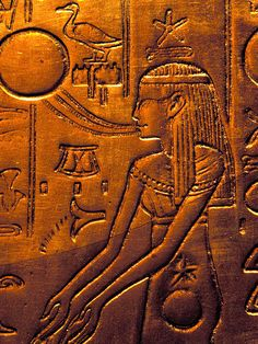 """by stephendoyle:    """"She of the Eastern Portal"""" - part of the netherworld, in the form of a goddess pregnant with the sun which will be born the following morning after its journey through the Duat. This is from the second shrine of Tutankhamun - one of four which enclosed his sarcophagus."""