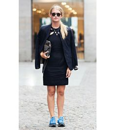 @Who What Wear - 8. Pair With Sneakers   Wearing a cocktail-appropriate LBD with tennis shoes is a bold move, but for those daring enough, it can provide a delightfully unexpected contrast. See more ways to wear it here.  Image courtesy ofStockholm Street Style