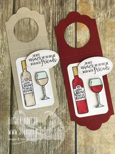 Wine Bottle Tag - lots of cute ideas here! Stampin Up! bottle crafts with label Craft Fair - Wine Bottle Tags Wine Bottle Charms, Wine Bottle Tags, Wine Bottle Covers, Wine Tags, Bottle Bag, Wine Craft, Wine Gifts, Bottle Crafts, Craft Fairs