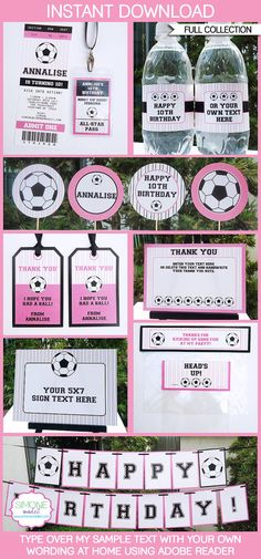Girls Soccer Party Invitations & Decorations full by SIMONEmadeit