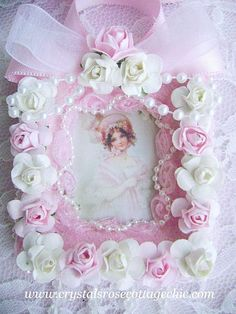 Victorian Shabby Pink Chic Girl with Romantic Roses Ornament