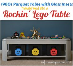DIY Ideas | Do you have a Lego lover in your life? Turn an old table with insets into an awesome Lego activity table that also provides storage and organization!