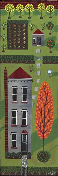 Very cool Julia Christian painting, Love that it looks like an old fashioned sampler.