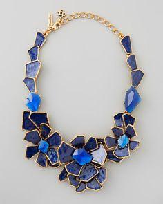 Geometric Floral Bib Necklace