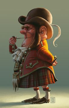 Cousin, Scotty Gnomie, came over to pay us visit. Brought his bagpipes too. BY DENIS ZILBER