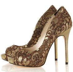 Karen Millen bronze lazer-cut peep toe shoes