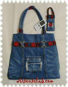Jeans Recycling, Bolsas Bags, Vieux Jeans, Jean Purses, Denim Ideas, Denim