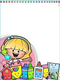 School Border, Cute Borders, School Cartoon, School Images, Label Paper, Binder Covers, Clipart, Hello Kitty, Preschool