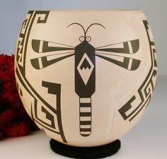 Mata Ortiz Pottery Luis Rodriguez White Clay Pot Mimbres Designs Dragonfly