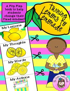 Lemons to Lemonade Flip Flap Book Growth Mindset Activity Growth Mindset Lessons, Growth Mindset Activities, Change Mindset, Fixed Mindset, Group Counseling, Counseling Activities, Positive Self Talk, Positive Attitude, Coping Skills Activities