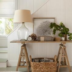 Wood Sawhorse Table, Cottage, entrance/foyer, Jenny Wolf Interiors