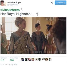 The Musketeers - Series III BtS filming via Jessica Pope's Twitter (Queen Anne)
