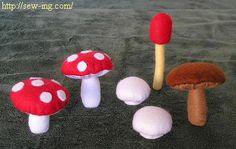 Mushroom felt (DIY) .... http://nuno-runo.blogspot.com/2009/09/toadstool.html#