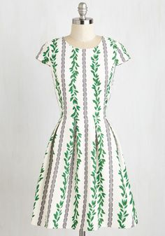 Ropin' and Wishin' Dress - Multi, White, Print, Daytime Party, Fit & Flare, Short Sleeves, Woven, Better, Mid-length