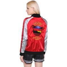Gcds Women Coconut Embroidered Satin Bomber Jacket (560 AUD) ❤ liked on Polyvore featuring outerwear, jackets, red, satin bomber jackets, embroidered jacket, red satin jacket, zip front bomber jacket and red jacket