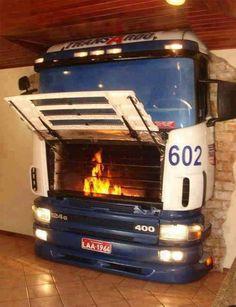 Bus Fireplace. Unique.