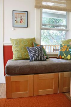Reuse Crib Mattress For Build In Seat Shown With Ikea Cabinets Under Great Diy