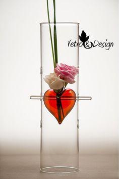 Vaso Cilindrico con Cuore Rosso Rubino in Vetro di vetroedesign