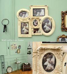 シャビーシックなオフホワイトのアンティーク調壁掛けフォトフレーム。 様々なサイズのフォトフレームがデザインされた ウォールコレクションフレームです。 Shabby Chic Antiques, Frozen, Gallery Wall, Lady, Board, Interior, Google, Image, Home Decor