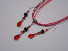 Artisan Made Red and Black Jewelry Set  925 by paulandninascrafts, $12.00
