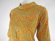 60s Yellow & Blue Paisley Roll Neck Shift Dress  by BeeDeeVintage, $35.00