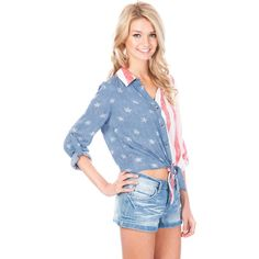 Soul Cal Deluxe USA Flag Shirt ❤ liked on Polyvore