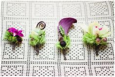 Charming boutonnieres with eclectic twists