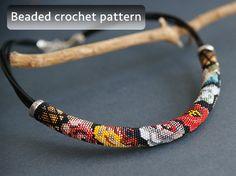 Bead crochet pattern, russian folk necklace pattern, flowers beaded crochet tutorial