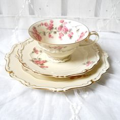 vintage tea cup, tea cup trio set, german porcelain, teacups, tea trio, german teacup, shabby chic. €27.50, via Etsy.  http://www.etsy.com/listing/120247537/vintage-tea-cup-tea-cup-trio-set-german?ref=usr_faveitems#