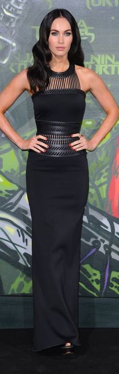 Who made Megan Fox's black gown that she wore in Berlin on October 2, 2014