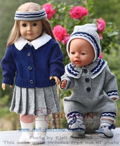 Welcome to Maalfrid Gausel doll knitting patterns store - the most lovely knitting patterns for dolls American Girl Outfits, American Doll Clothes, Old Baby Clothes, Girl Doll Clothes, Barbie Clothes, Crochet Doll Dress, Knitted Dolls, Knitting For Charity, Baby Knitting