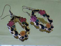 Vibrant Vintage Cloisonne Die Cut Earrings by EternalElementsEtsy