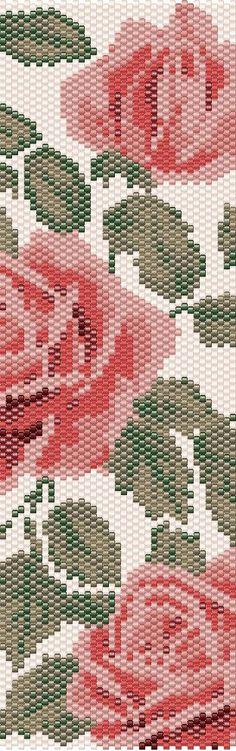 Peyote Bracelet Pattern Flowers Beading PATTERN Rose Peyote Stitch Beaded Bracelet Beadwork Pattern Miyuki Delica Size 11 patterns seed bead