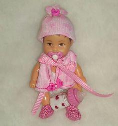 OOAK Handmade for Krissy GIRL 6pc DIAPER SET bottle pacifier polymer clay Baby