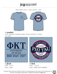 JCG Apparel : Custom Printed Apparel : Phi Kappa Tau Bid Day T-Shirt #phikappatau #phitau #pkt #fall #rush #genuine #brotherhood #badge #bidday