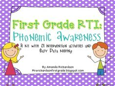 First Grade RTI: Phonemic Awareness- great activities for kindergarten and first grade guided reading or intervention activities!