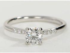 Engagement Rings 2017 Petite Diamond Engagement Ring in Platinum #anillos de compromiso | alianzas de b