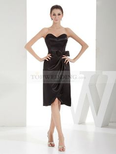 Side Draped Sweetheart Elastic Satin Bridesmaid Dress with Bow
