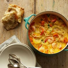 Peruvian Shrimp-and-Corn Chowder. Plus links to other shrimp recipes from food and wine mag.