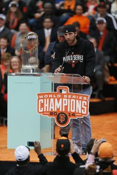 San Francisco Giants pitcher Madison Bumgarner speaks during the championship parade ceremony on Friday, October 31, 2014 in the Civic Center of San Francisco, Calif. Photo: Beck Diefenbach, Special To The Chronicle