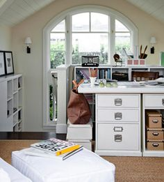 Small-Space Home Offices: Storage & Decor With designs like this if you don't have the budget to have a custom build storage, you can buy pieces one at a time, even at garage sales, paint the same color, and wahlah you have the look and the storage space.