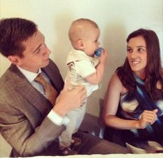 Oliver Phelps and Katy with Oliver's godson (probably)